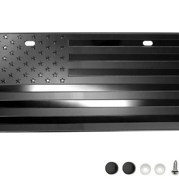 "USA American Flag Metal Embossed License Plate (12""x6"", Black)"