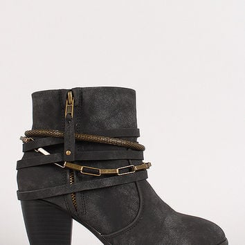 Liliana Strappy Chain Round Toe Cowboy Ankle Booties