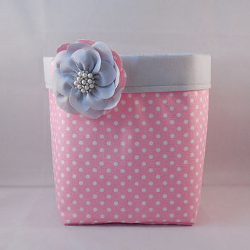Pink and White Polka Dot Fabric Basket With Gray Liner And Detachable Fabric Flower Pin For Storage Or Gift Giving