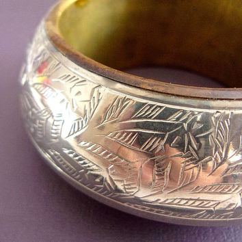 Silver Brass Etched Bangle Bracelet, 70's BoHo, Chunky, Vintage