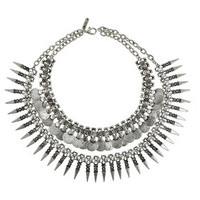 Freedom Found Spike Drop Collar Necklace - Silver
