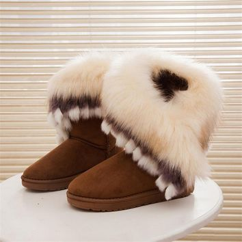 2018 Women Snow Ankle Boots Female Fox Fur Winter Boots Warm Australia Booties Fashion Shoes Botas