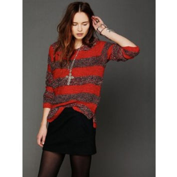 Free People Red Rugby Striped Pullover Sweater