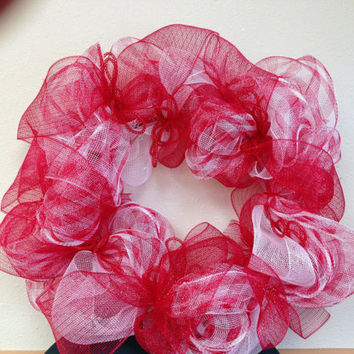 Red and white wreath. Deco mesh 12 inch wreath