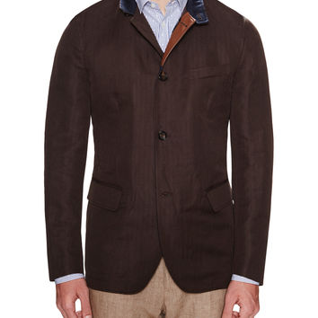 Luciano Barbera Men's Leather Stand Collar Car Coat - Brown -