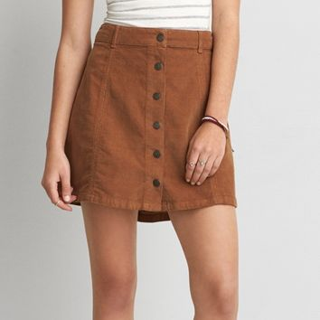 AEO CORDUROY BUTTON SKIRT