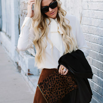 Suede Scalloped Skirt