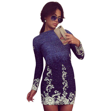 Winter New Years Cocktail Party Dress Pencil Elegant Slim Fit Mini Dress Roupa Pirnt Floral Pattern Vestidos De Festa LJ7986U