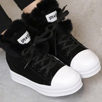 New Black Round Toe Lace-up Casual Boots