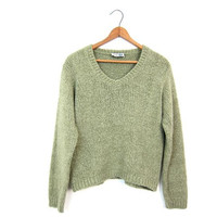 Nubby Knit Cropped Sweater Sage Green 90s Pullover Soft Knit V Neck Shirt Long Sleeve Sweater Basic Crop Vneck Sweater Vintage Small Medium