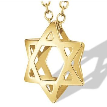Star of David White or Yellow Gold Necklace by I. Reiss