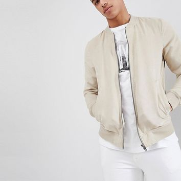 Pull&Bear Faux Suede Bomber Jacket In Beige at asos.com