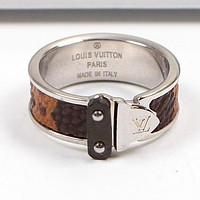 """Louis Vuitton"" LV New Popular Women Leather Stainless Steel Couple Ring Jewelry Silvery I-HLYS-SP"
