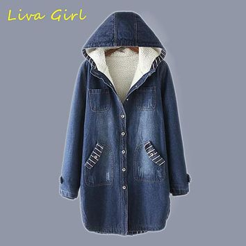 LIVA GIRL 2017 New Winter Cowboy Women Jacket Long Thickening Warm Hooded Loose Coat Fashion Denim Blue Lambs Wool Jacket WJN124