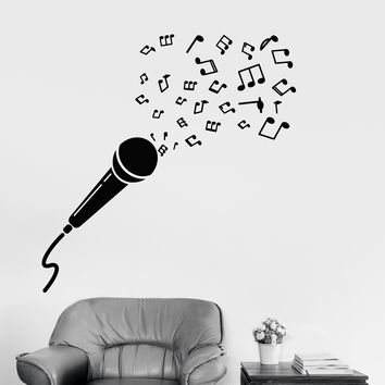 Vinyl Wall Decal Microphone Music Notes Melody Singer Karaoke Club Stickers (2431ig)