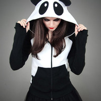 Hoodie Panda Fleece Ears Animal Kawaii Lolita Sweet