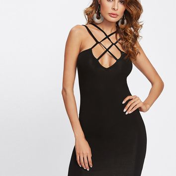 Cross front strappy bodycon dress