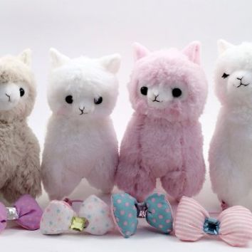 Japanese Amuse 4pcs Cute Arpakasso Alpaca Llama Bon Bon Bow Tie Soft Animal Stuffed Plush Toys