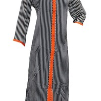 Women Long Kurti Black Georgette Mandarin Collar Ethnic Tunic Kaftan Dress: Amazon.ca: Clothing & Accessories