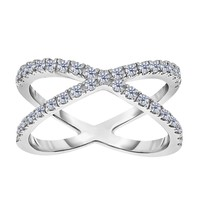 Sterling Silver With CZ Cross Over X Design Ring