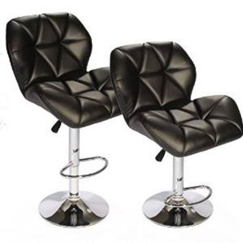 SET of (2) Black Bar Stools Leather Modern Hydraulic Swivel Dinning Chair BarstoolsB01