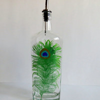 Bottle dispenser, Olive oil, Soap dispenser, Clear glass, Hand painted, Peacock feather, Kitchen decor