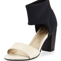 Prominent Open-Toe Ankle-Wrap Sandals, Off-White/Black