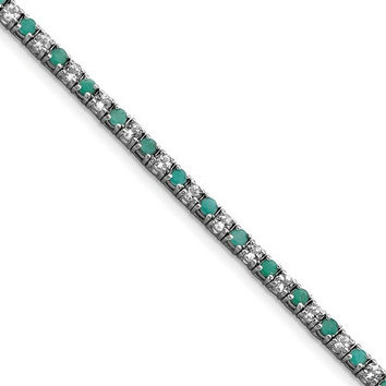 Sterling Silver Genuine Emerald And White Topaz Tennis Bracelet
