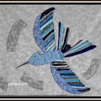 "Hunger games inspired art quilt pattern "" Mockingjay"" blue bird applique PDF pattern quilt pattern"