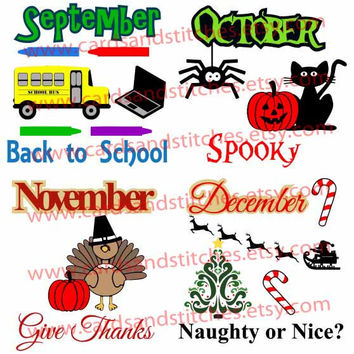 September, October, November, December - Bits and Pieces - Digital Cutting File -Graphic Design - Instant Download - SVG, DXF, JPG