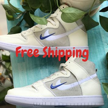 [ Free  Shipping ] Nike SB Zoom Dunk High Pro QS Soulland FRI.day Off White Sail AH9613-141 Basketball Sneaker
