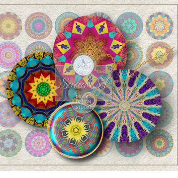 Mandalas, Coasters, Craft Supplies, Bottle Caps, Collage Sheet, Resin Jewelry, Fridge Magnets, Printable Images, Instant Download, #MS012