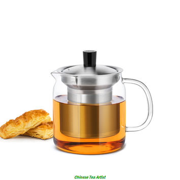 500ml Premium Quality Modern Glass Teapot with Stainless Steel Strainer