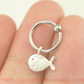 tragus earring,whale Cartilage Hoop earring,CBR Captive Bead Ring, Helix Cartilage jewelry,bff gift,oceantime