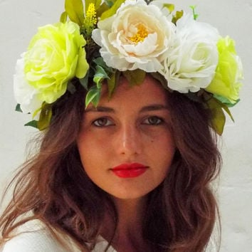 Big yellow white flower crown, ivory floral headband, boho  headpiece ,festival roses halo,frida kalho, lana del rey