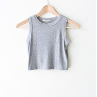 Crop Tank Top - Heather Grey