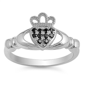 Claddagh Sterling Silver Black and White Cubic Zirconia Heart Engagement Ring