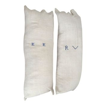 Pre-owned French Grain Sack Pillows Large - A Pair