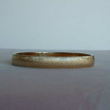 MONET Brushed Satin Goldtone Bangle Bracelet Vintage Jewelry