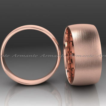 Classic Mens Wedding Band, Rose Gold Wedding Band, Hand Made 8.00mm Wide 14K Solid Rose Gold Wedding Band