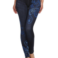 Blue Swirl Jeggings