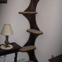 Corner Climbing Cat Tree Tower For Active Kitties, UNFINISHED  Only. Real  Furniture-grade Oak Ply