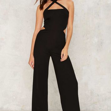 Cross Strap to Bear Halter Jumpsuit