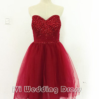 Women's Wine Tea Length Dress Sweetheart Beaded Bodice Short Dress for Formal Occasion Lace-up Back Custom Made