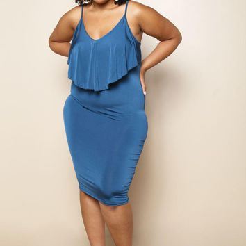 Satin Ruffle Flounce Bib Plus Size Maxi Dress