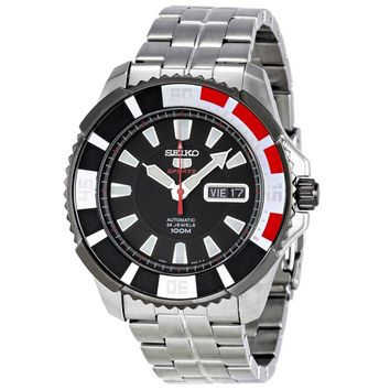 Seiko SRP207 Men's 5 Sports Stainless Steel Bracelet Automatic Black Dial Watch