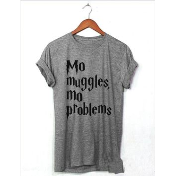 DCCKJ1A [MO MUGGLES] personality English letters men and women T-shirt