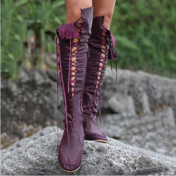 Spring Autumn Women Fashion Gypsy Style Lace-Up Knee High Flat Boots Cross Strappy Cut-Outs Long Boots Round Toe Fringe Botas