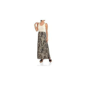 Women's Knit To Woven Maxi Dress, Animal Neutral, Xxlarge Faded Glory