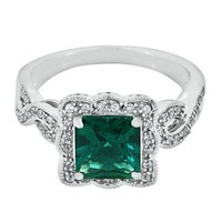Lab-Created Emerald & White Sapphire Ring in Sterling Silver - Rings - Jewelry - Helzberg Diamonds